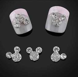 10pc 3D Nail Art Tips Crystal Mouse Ears Nail Art Stickers D