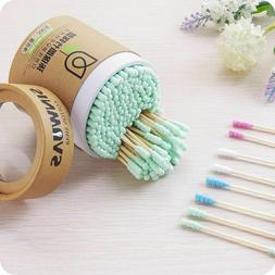 200 Bamboo Cotton Swabs Wood Sticks Double-headed Cleaning O
