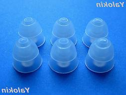 6 Large Clear Double Flange Replacement Eartips buds gels fo